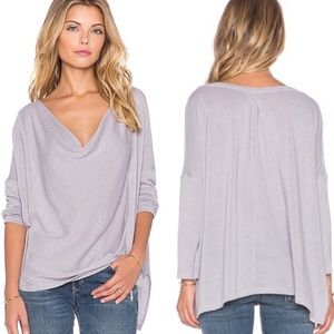 We The Free People Lucky Day Wrap Tee Ash Purple L